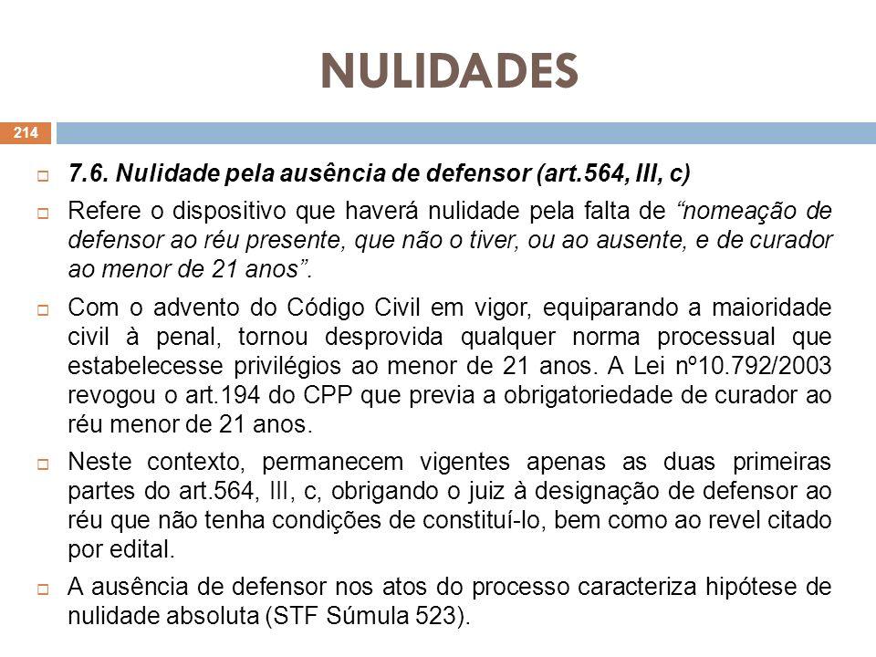 NULIDADES 7.6. Nulidade pela ausência de defensor (art.564, III, c)