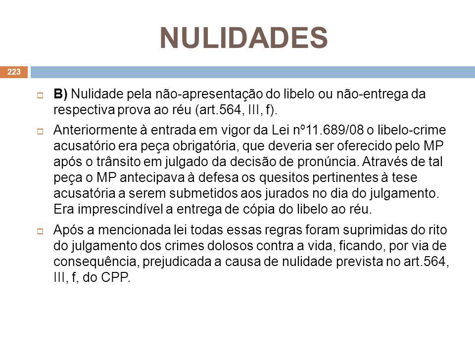 NULIDADES B) Nulidade pela não-apresentação do libelo ou não-entrega da respectiva prova ao réu (art.564, III, f).