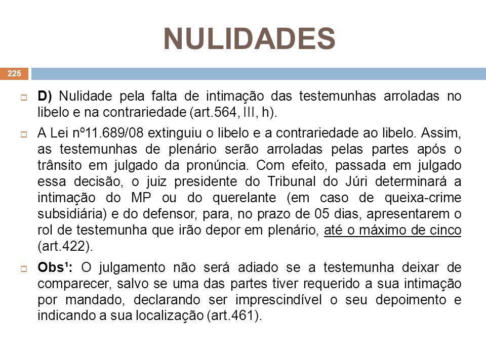 NULIDADES D) Nulidade pela falta de intimação das testemunhas arroladas no libelo e na contrariedade (art.564, III, h).