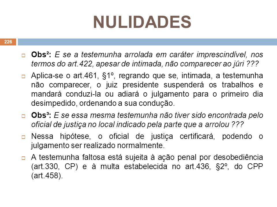 NULIDADES Obs²: E se a testemunha arrolada em caráter imprescindível, nos termos do art.422, apesar de intimada, não comparecer ao júri