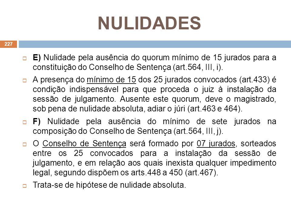 NULIDADES E) Nulidade pela ausência do quorum mínimo de 15 jurados para a constituição do Conselho de Sentença (art.564, III, i).