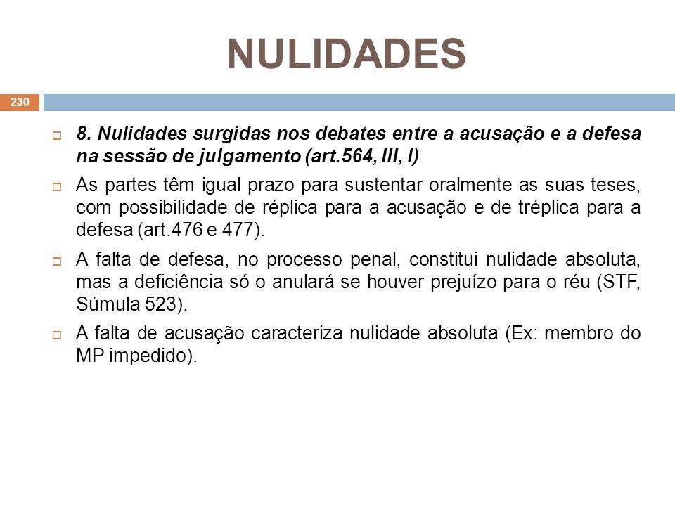 NULIDADES 8. Nulidades surgidas nos debates entre a acusação e a defesa na sessão de julgamento (art.564, III, l)