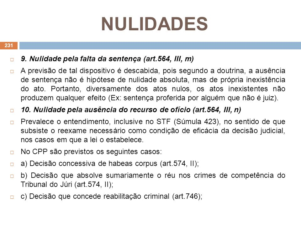 NULIDADES 9. Nulidade pela falta da sentença (art.564, III, m)