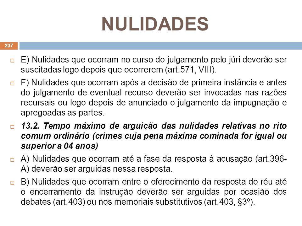 NULIDADES E) Nulidades que ocorram no curso do julgamento pelo júri deverão ser suscitadas logo depois que ocorrerem (art.571, VIII).
