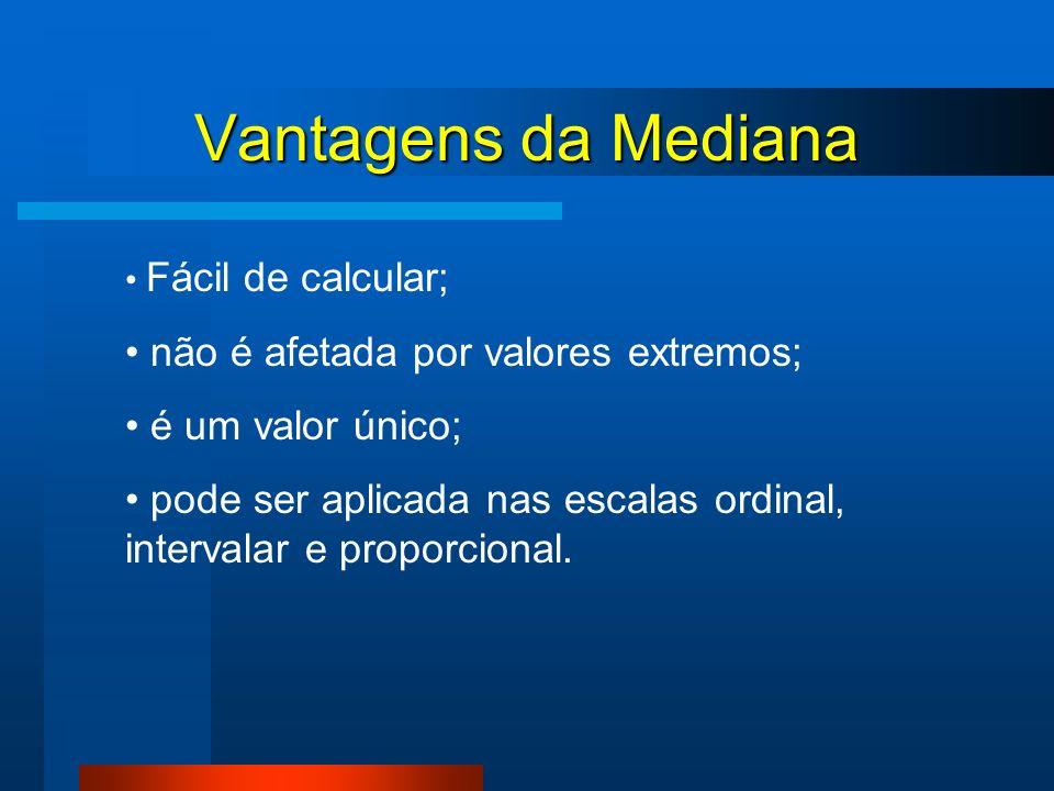 Vantagens da Mediana não é afetada por valores extremos;