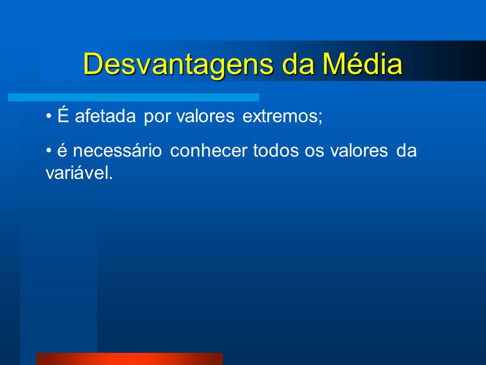 Desvantagens da Média É afetada por valores extremos;