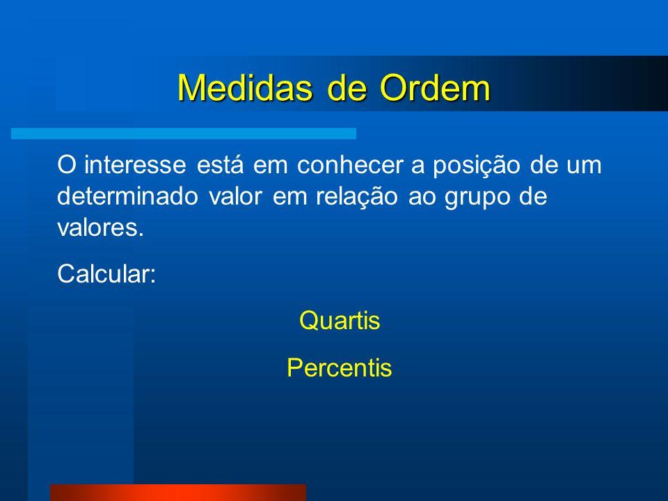 Medidas de Ordem O interesse está em conhecer a posição de um determinado valor em relação ao grupo de valores.