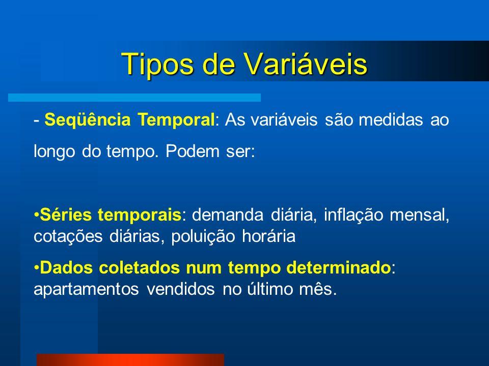 Tipos de Variáveis - Seqüência Temporal: As variáveis são medidas ao