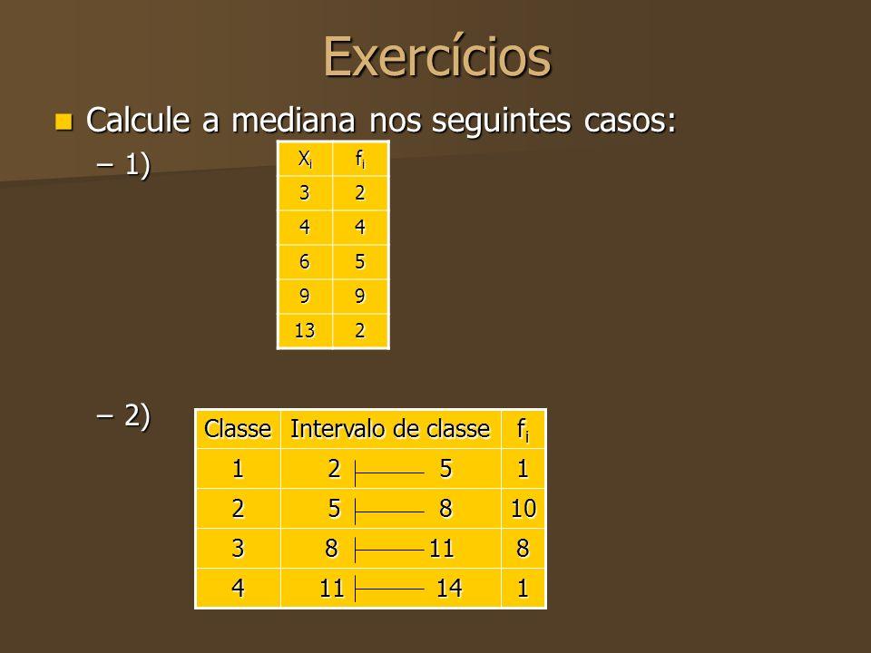 Exercícios Calcule a mediana nos seguintes casos: 1) 2) 1 11 14 4 8