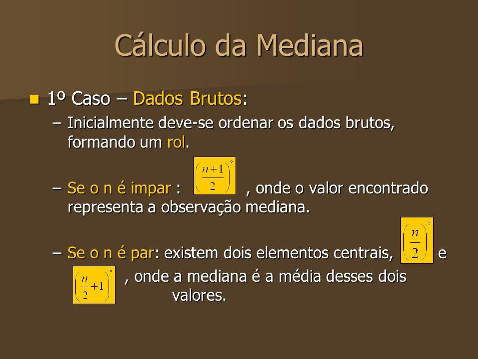 Cálculo da Mediana 1º Caso – Dados Brutos: