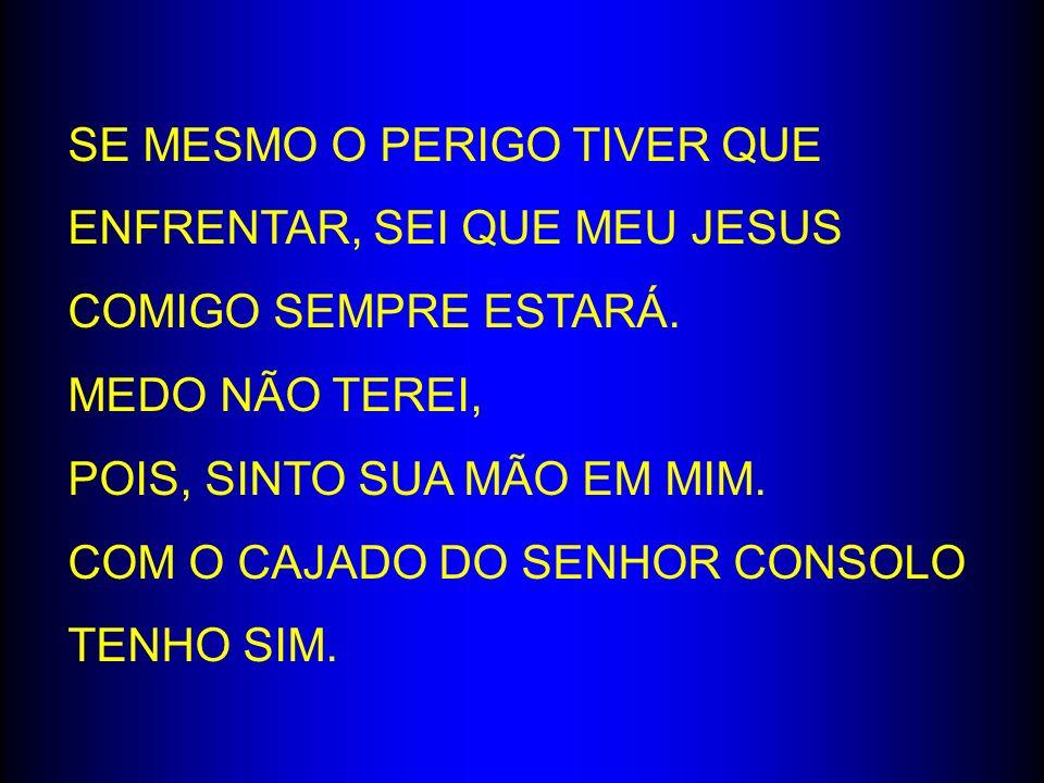 SE MESMO O PERIGO TIVER QUE ENFRENTAR, SEI QUE MEU JESUS COMIGO SEMPRE ESTARÁ.