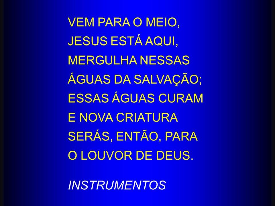 VEM PARA O MEIO, JESUS ESTÁ AQUI, MERGULHA NESSAS. ÁGUAS DA SALVAÇÃO; ESSAS ÁGUAS CURAM. E NOVA CRIATURA.