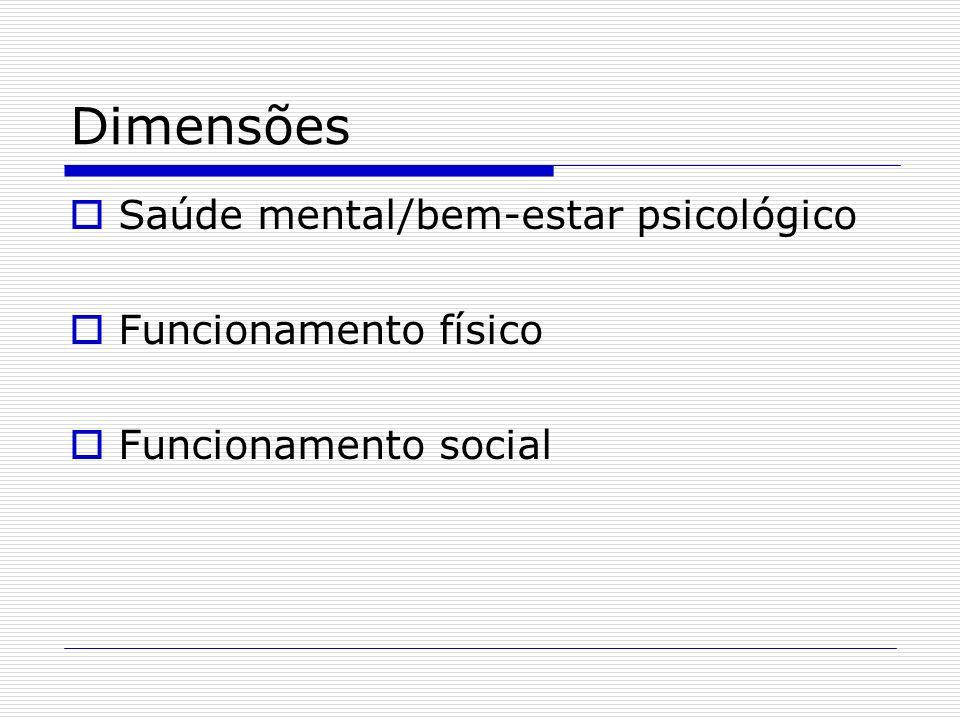 Dimensões Saúde mental/bem-estar psicológico Funcionamento físico