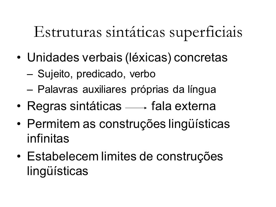 Estruturas sintáticas superficiais