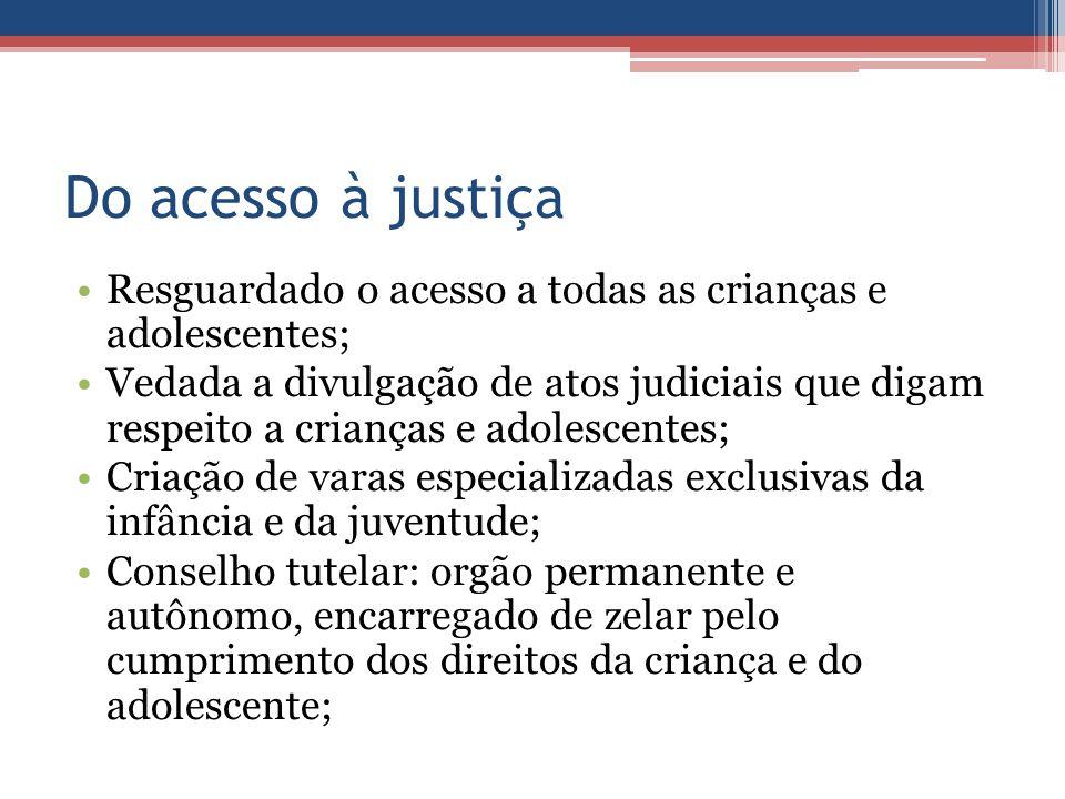 Do acesso à justiça Resguardado o acesso a todas as crianças e adolescentes;