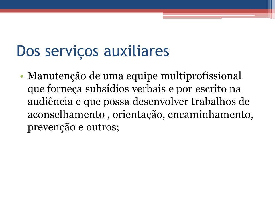 Dos serviços auxiliares