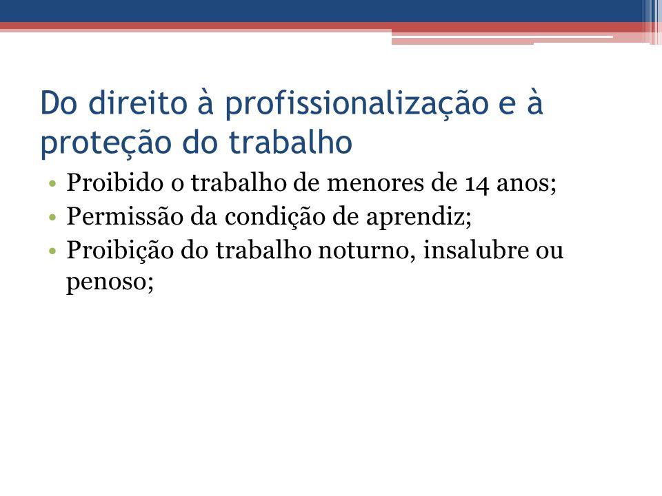 Do direito à profissionalização e à proteção do trabalho