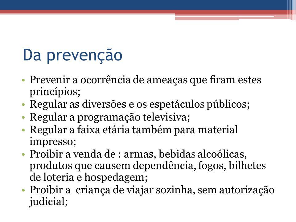 Da prevenção Prevenir a ocorrência de ameaças que firam estes princípios; Regular as diversões e os espetáculos públicos;
