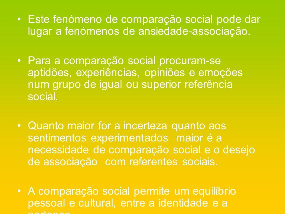 Este fenómeno de comparação social pode dar lugar a fenómenos de ansiedade-associação.