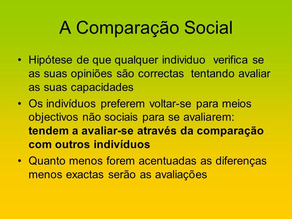 A Comparação SocialHipótese de que qualquer individuo verifica se as suas opiniões são correctas tentando avaliar as suas capacidades.