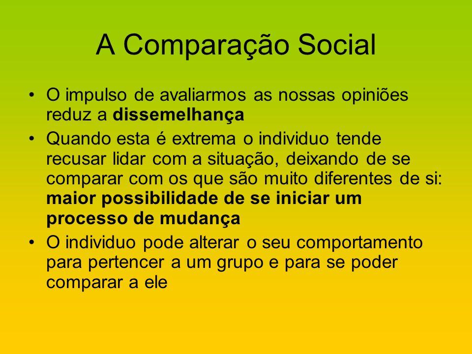 A Comparação Social O impulso de avaliarmos as nossas opiniões reduz a dissemelhança.