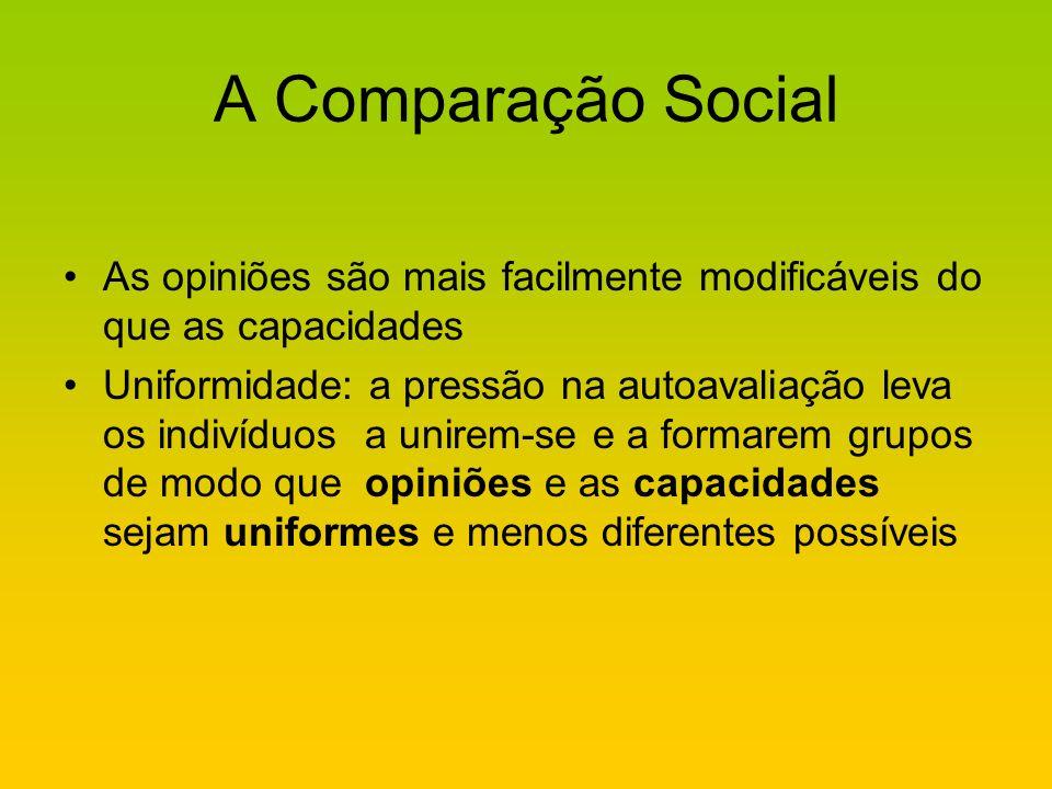 A Comparação Social As opiniões são mais facilmente modificáveis do que as capacidades.