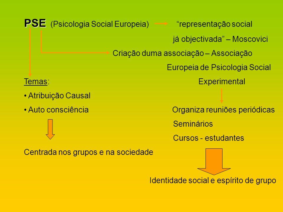 PSE (Psicologia Social Europeia) representação social
