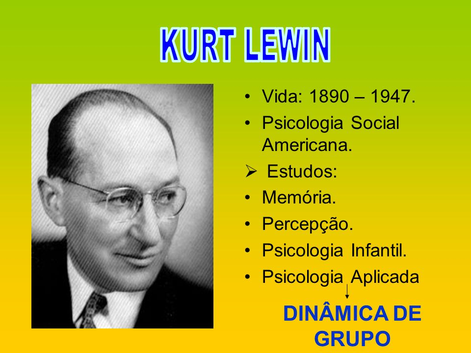 KURT LEWIN DINÂMICA DE GRUPO Vida: 1890 – 1947.