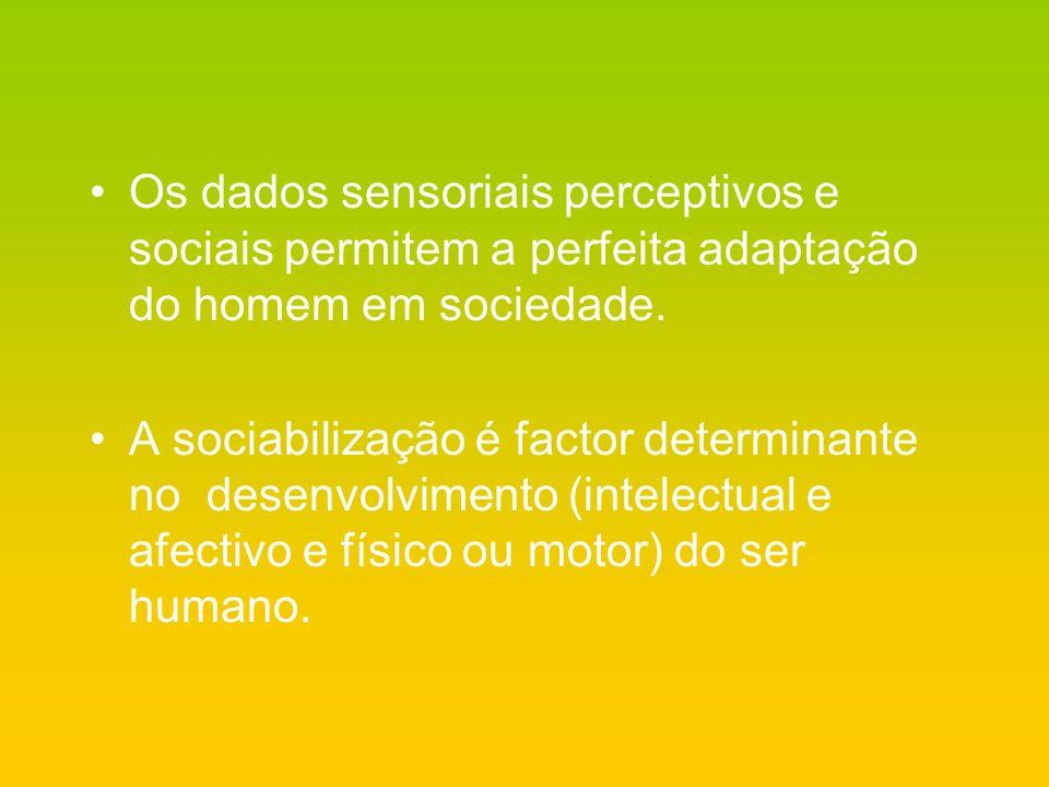 Os dados sensoriais perceptivos e sociais permitem a perfeita adaptação do homem em sociedade.
