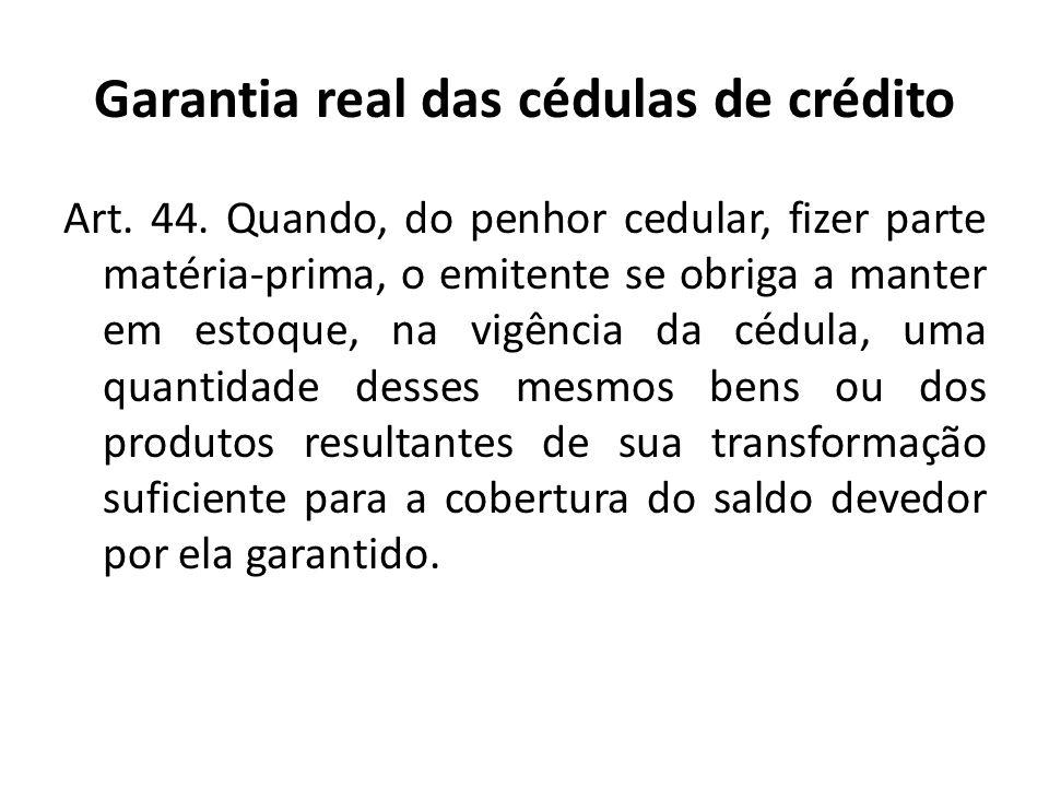 Garantia real das cédulas de crédito