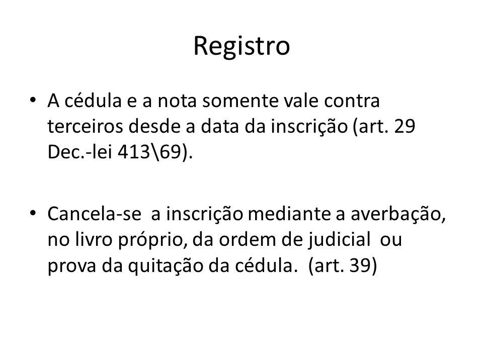 Registro A cédula e a nota somente vale contra terceiros desde a data da inscrição (art. 29 Dec.-lei 413\69).