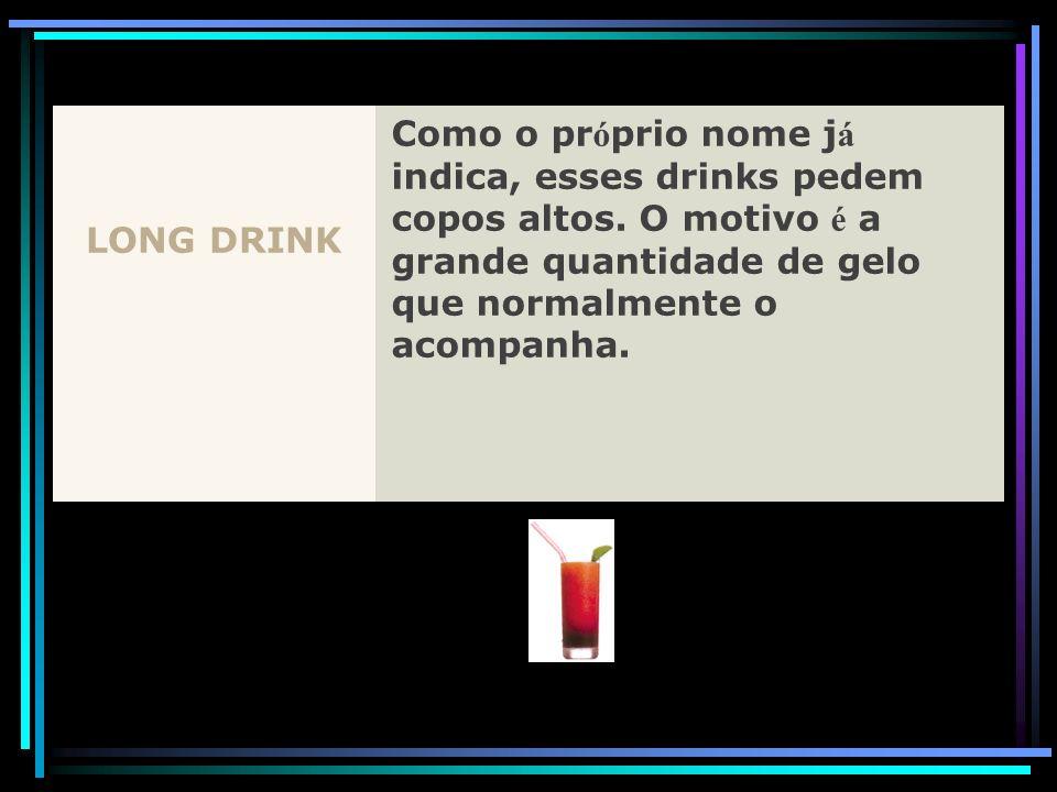 LONG DRINK Como o próprio nome já indica, esses drinks pedem copos altos.