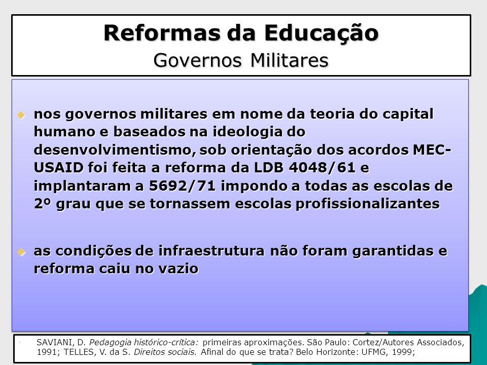 Reformas da Educação Governos Militares