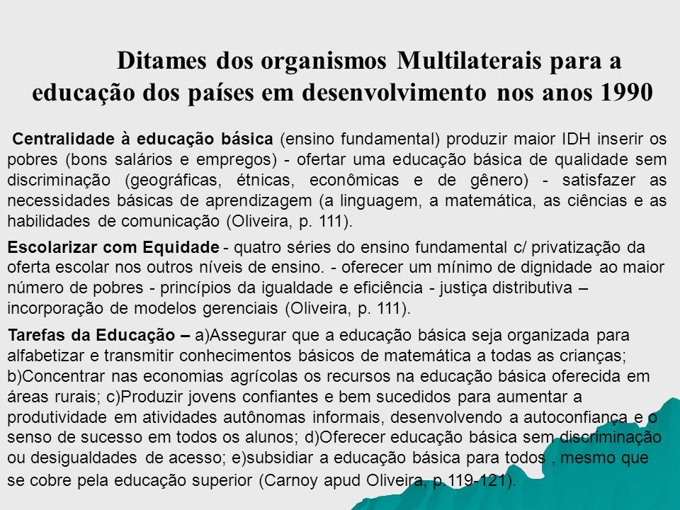 Ditames dos organismos Multilaterais para a educação dos países em desenvolvimento nos anos 1990