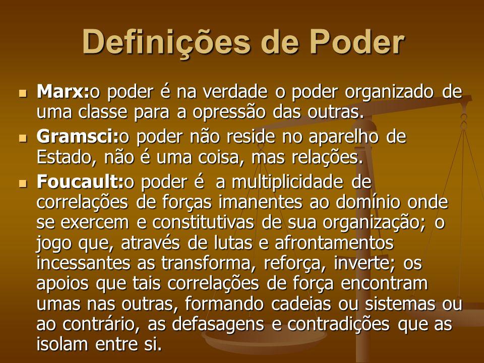 Definições de Poder Marx:o poder é na verdade o poder organizado de uma classe para a opressão das outras.