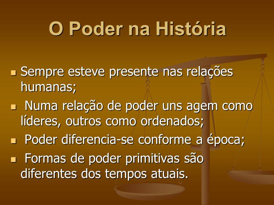 O Poder na História Sempre esteve presente nas relações humanas;