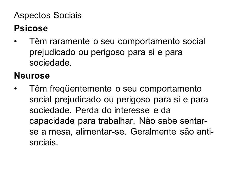 Aspectos Sociais Psicose. Têm raramente o seu comportamento social prejudicado ou perigoso para si e para sociedade.