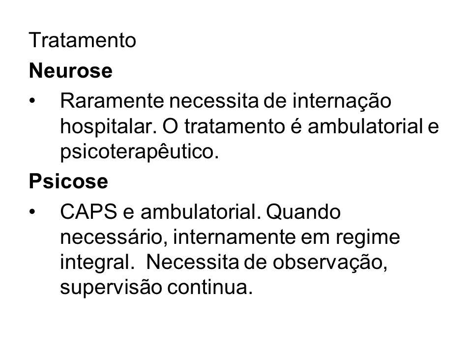 Tratamento Neurose. Raramente necessita de internação hospitalar. O tratamento é ambulatorial e psicoterapêutico.