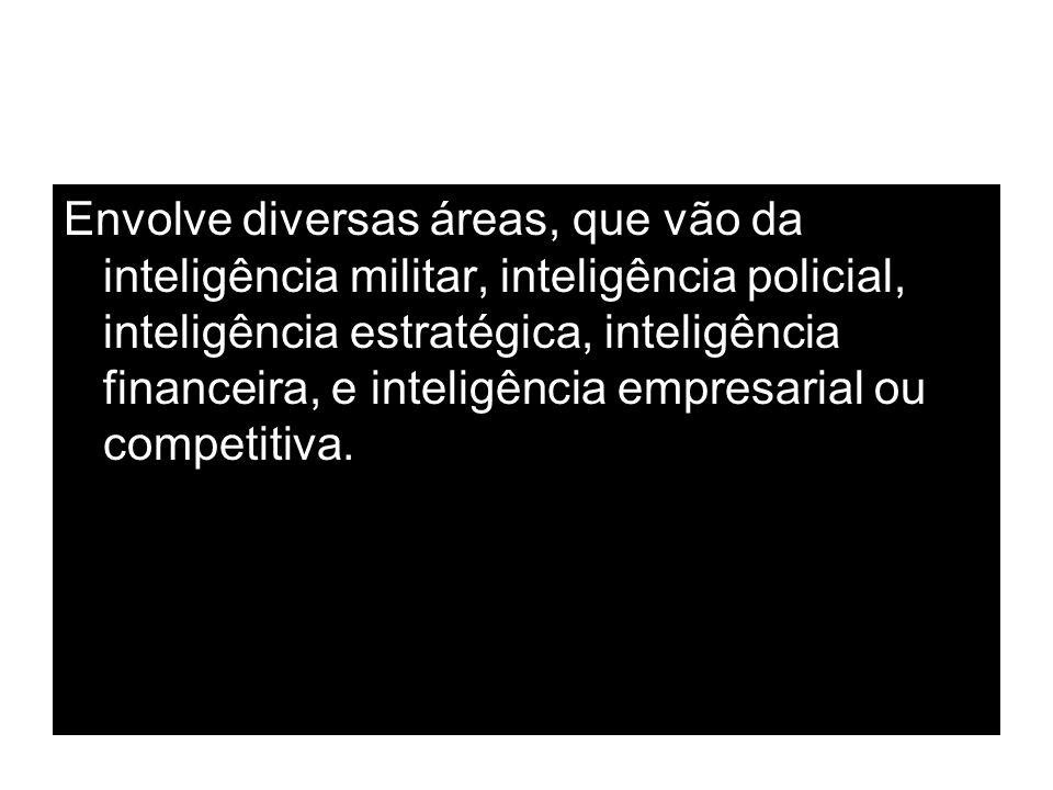Envolve diversas áreas, que vão da inteligência militar, inteligência policial, inteligência estratégica, inteligência financeira, e inteligência empresarial ou competitiva.