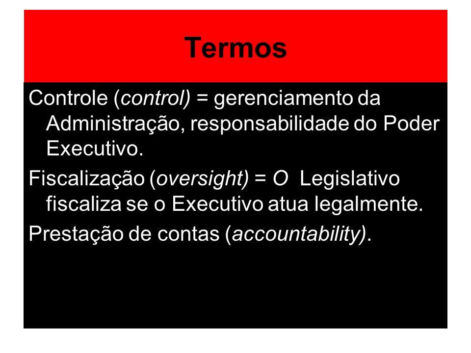 Termos Controle (control) = gerenciamento da Administração, responsabilidade do Poder Executivo.