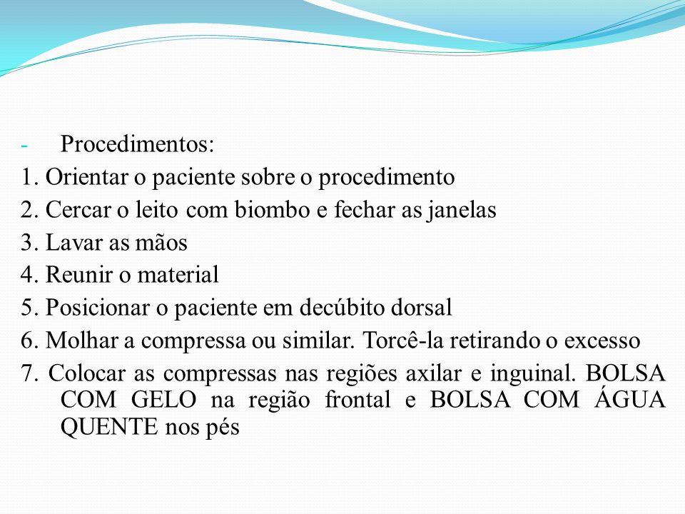 Procedimentos: 1. Orientar o paciente sobre o procedimento. 2. Cercar o leito com biombo e fechar as janelas.