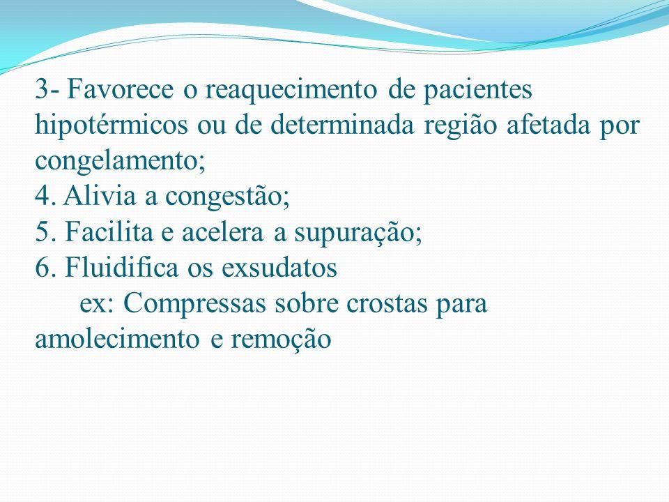 3- Favorece o reaquecimento de pacientes hipotérmicos ou de determinada região afetada por congelamento; 4.
