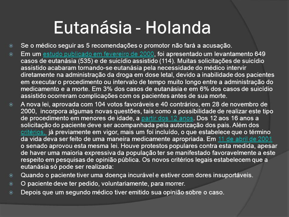 Eutanásia - Holanda Se o médico seguir as 5 recomendações o promotor não fará a acusação.