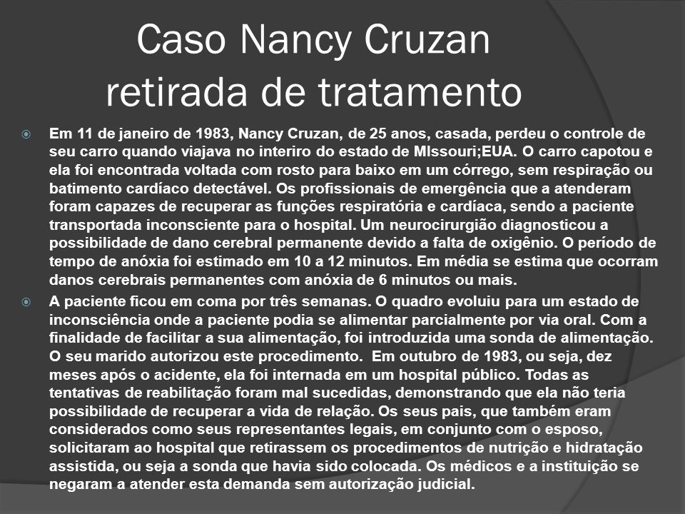 Caso Nancy Cruzan retirada de tratamento