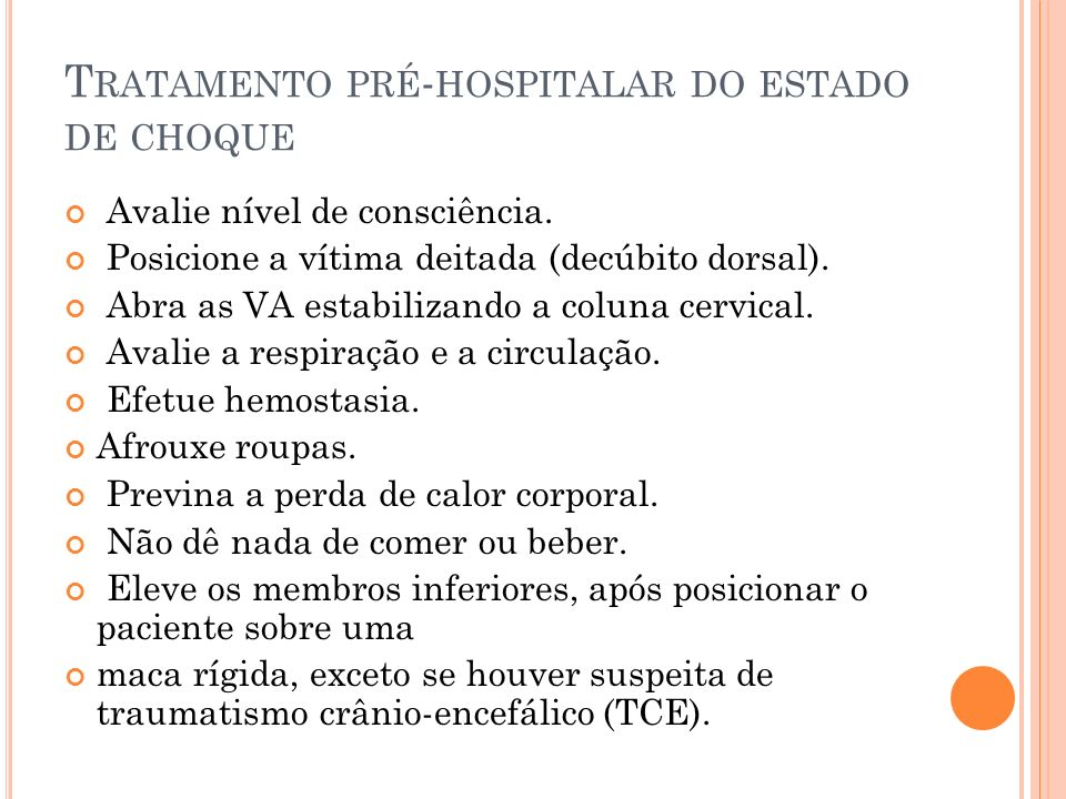 Tratamento pré-hospitalar do estado de choque