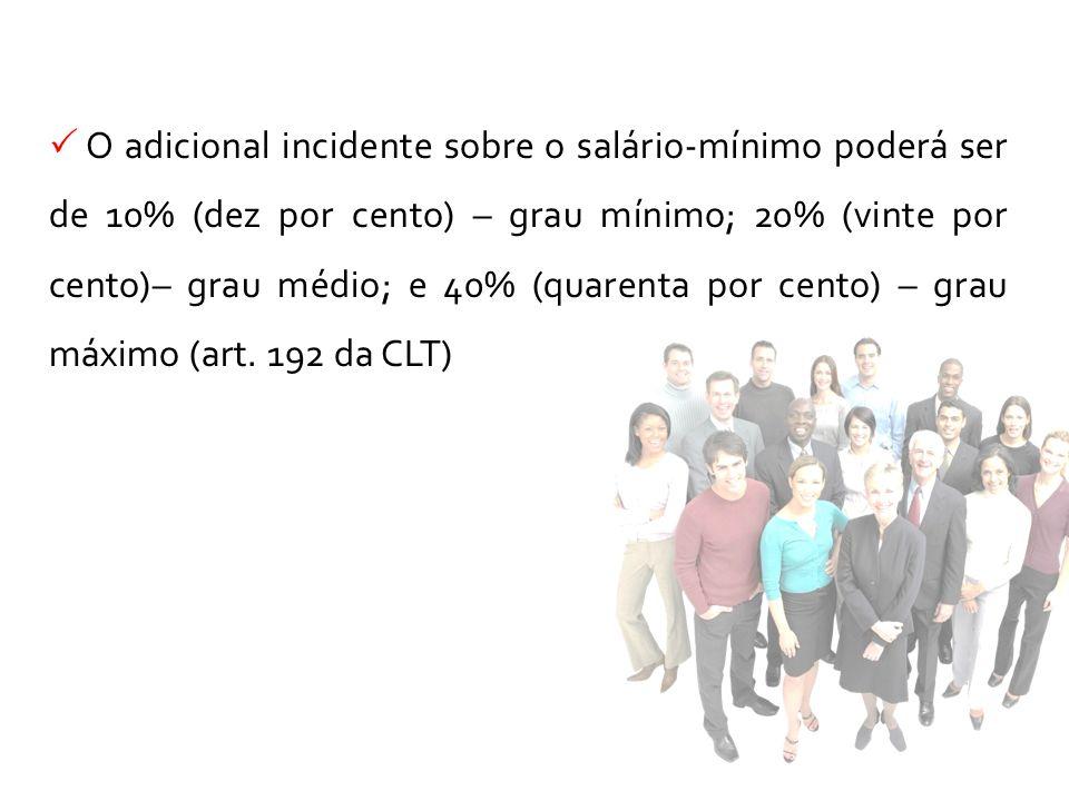 O adicional incidente sobre o salário-mínimo poderá ser de 10% (dez por cento) – grau mínimo; 20% (vinte por cento)– grau médio; e 40% (quarenta por cento) – grau máximo (art.