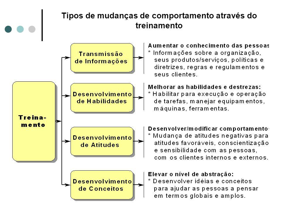 Tipos de mudanças de comportamento através do treinamento