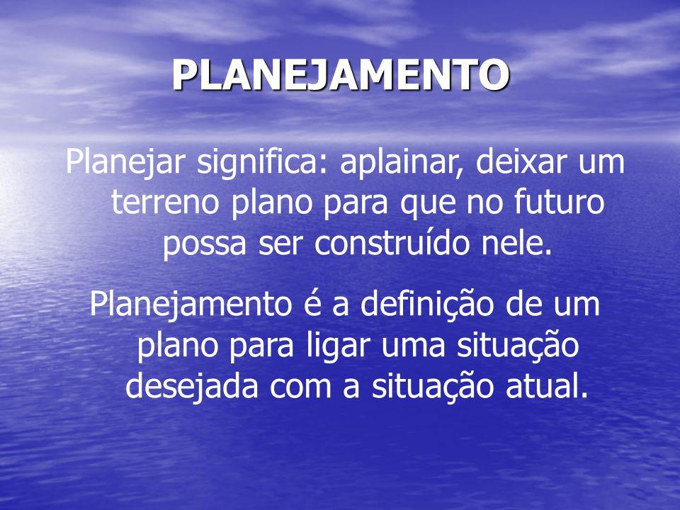 PLANEJAMENTOPlanejar significa: aplainar, deixar um terreno plano para que no futuro possa ser construído nele.