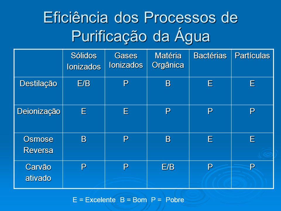 Eficiência dos Processos de Purificação da Água