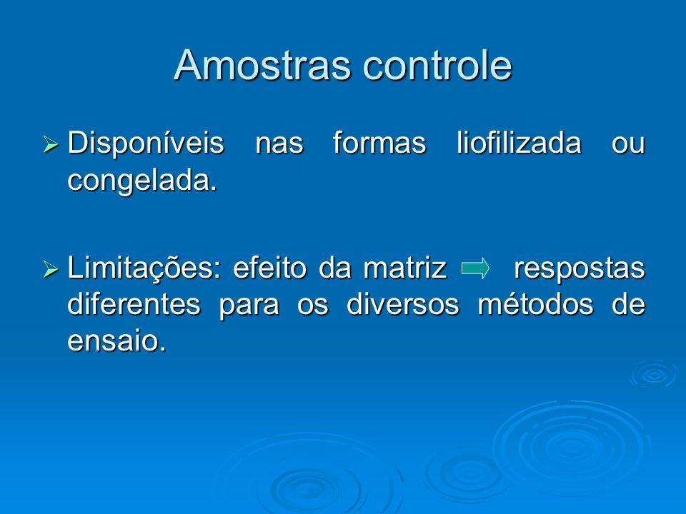Amostras controle Disponíveis nas formas liofilizada ou congelada.